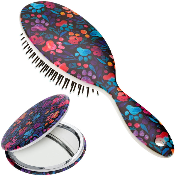 Floral Paws Hairbrush & Pocket Mirror Set