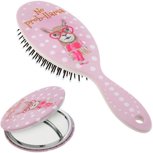 No Prob-llama Hairbrush & Pocket Mirror Set
