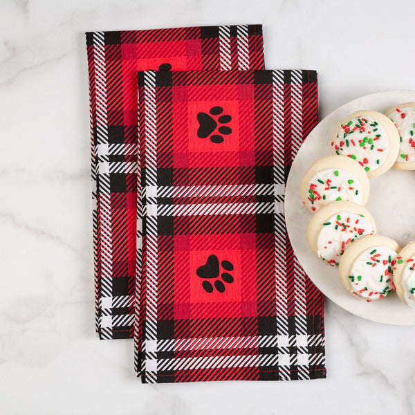 Plaid Paws Flour Sack Dish Towel Set