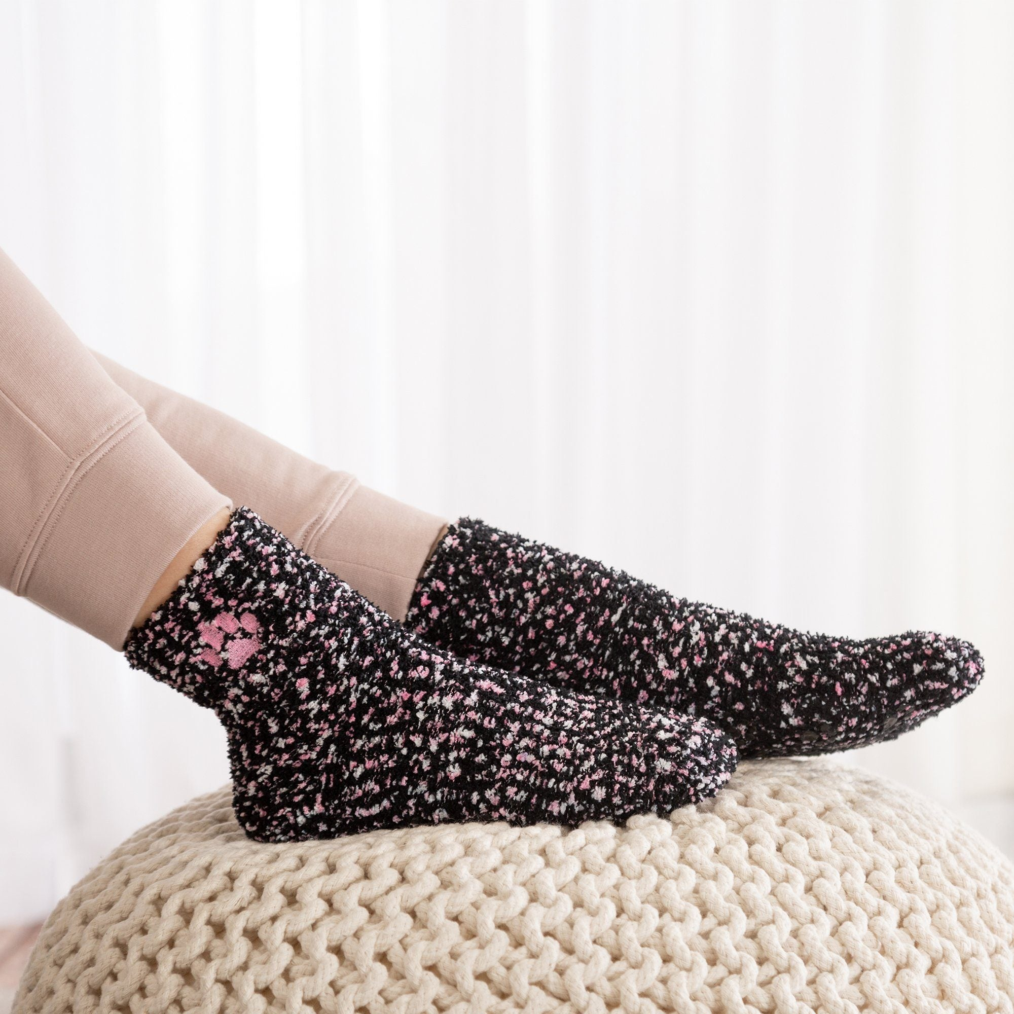 Cozy Paw Print Slipper Socks