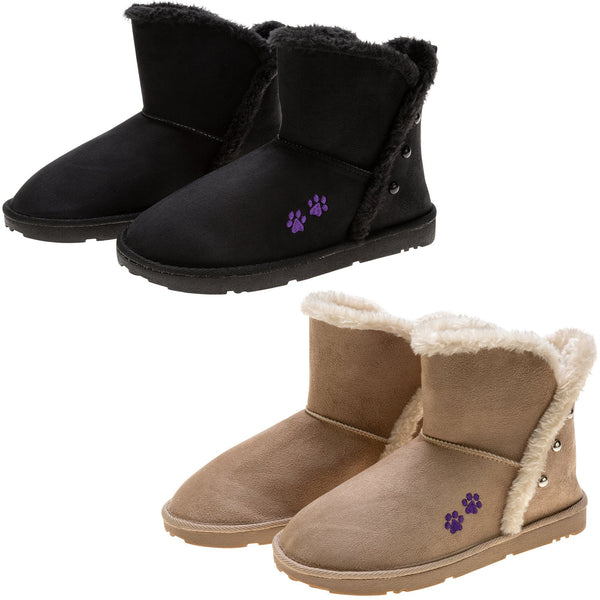 Purple Paw Faux Fur Lined Ankle Boots