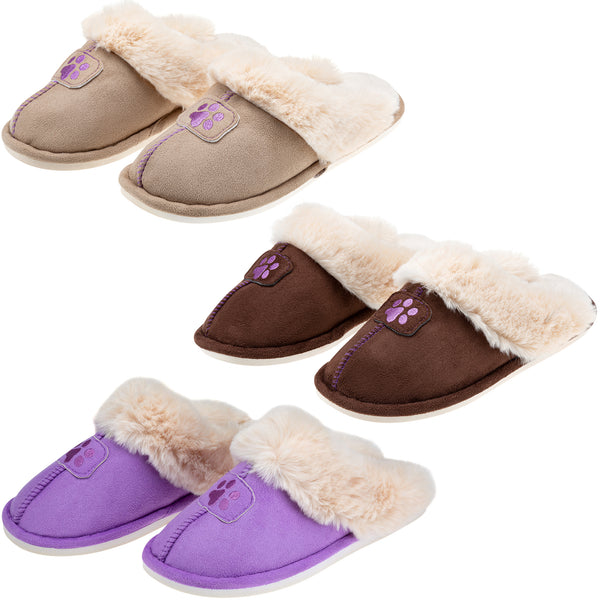 Paw Print Faux Fur Slide Slippers