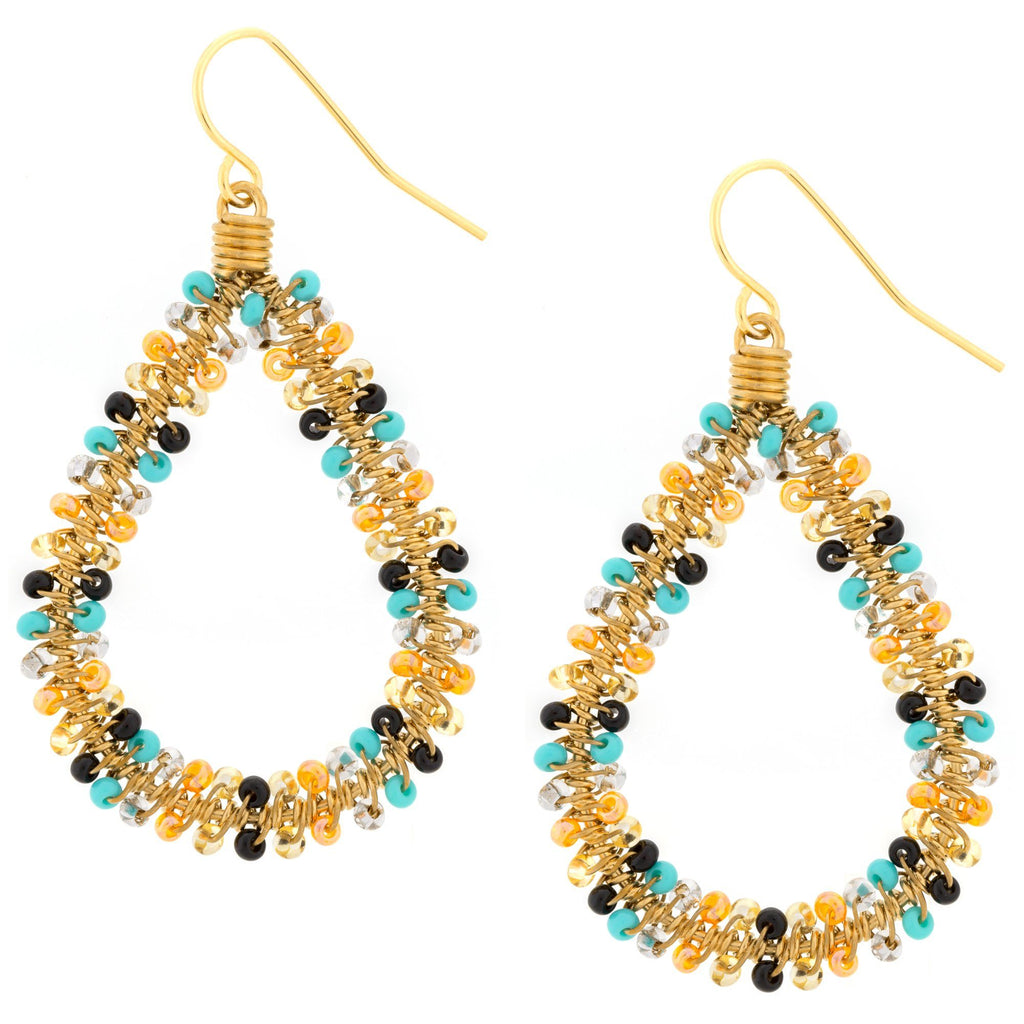 Double Beaded Teardrop Earrings