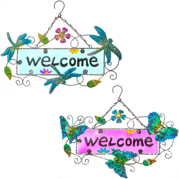 Fluttering Friends Outdoor Welcome Sign
