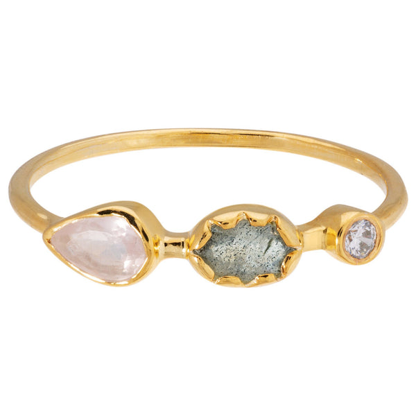 Gemstone Trio Gold-Plated Ring