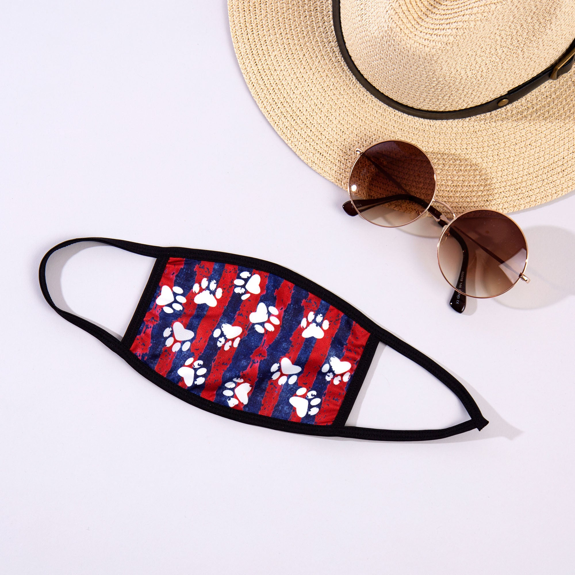 Paw Print Face Mask with Sunglasses and hat