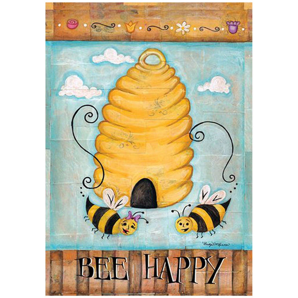 Toland Home Garden - Bee Happy Garden Flag