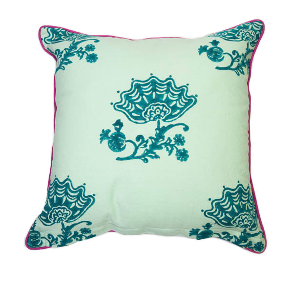 Jacobean Block Print Pillow Cover