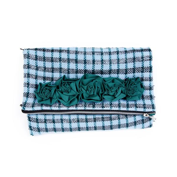 Matr Boomie - Recycled Metallic Plaid Clutch