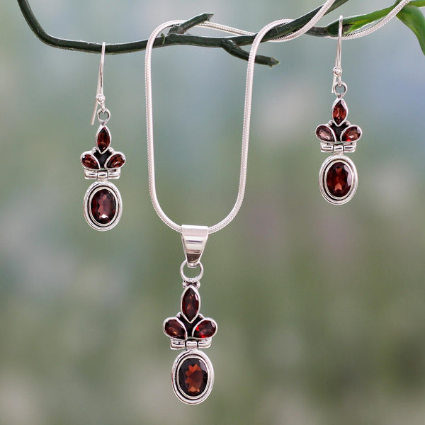 NOVICA - Silver & Garnet 'Eternal Love' Jewelry Set