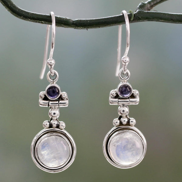 NOVICA - Silver, Moonstone & Iolite 'Misty Moon' Earrings