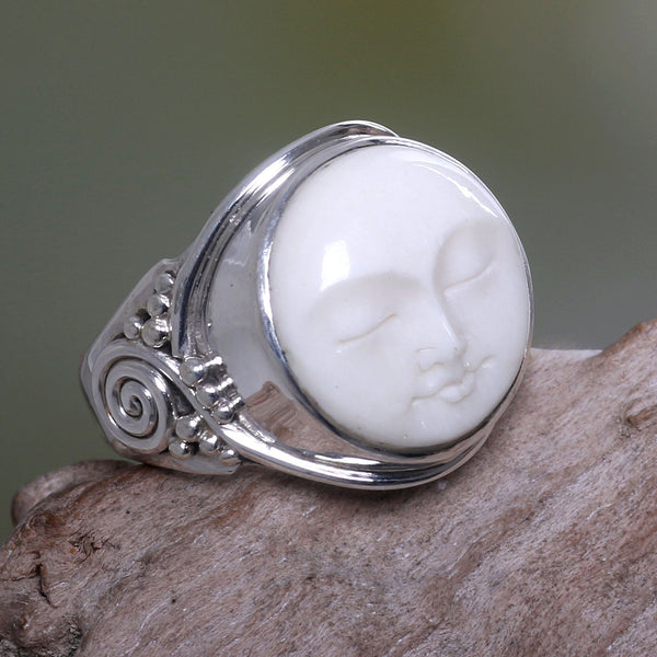 NOVICA - Face Of The Moon Sterling Silver Cocktail Ring
