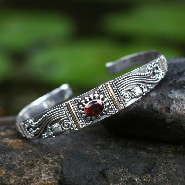 NOVICA - Silver, Garnet & Gold Plated Paradise Cuff Bracelet