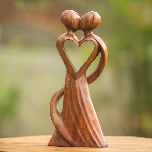 My Heart And Yours Romantic Suar Wood Sculpture