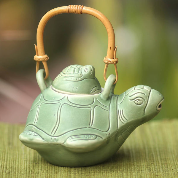 NOVICA - Sea Turtle Mother And Child Green Ceramic Teapot