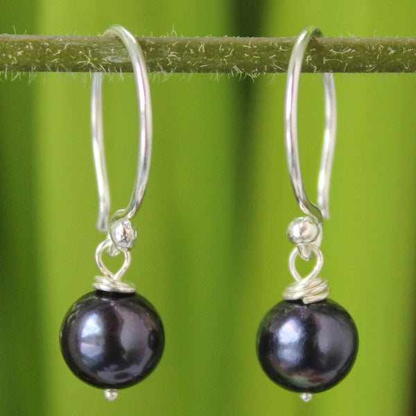 NOVICA - Silver And Black Pearl Dangle Earrings