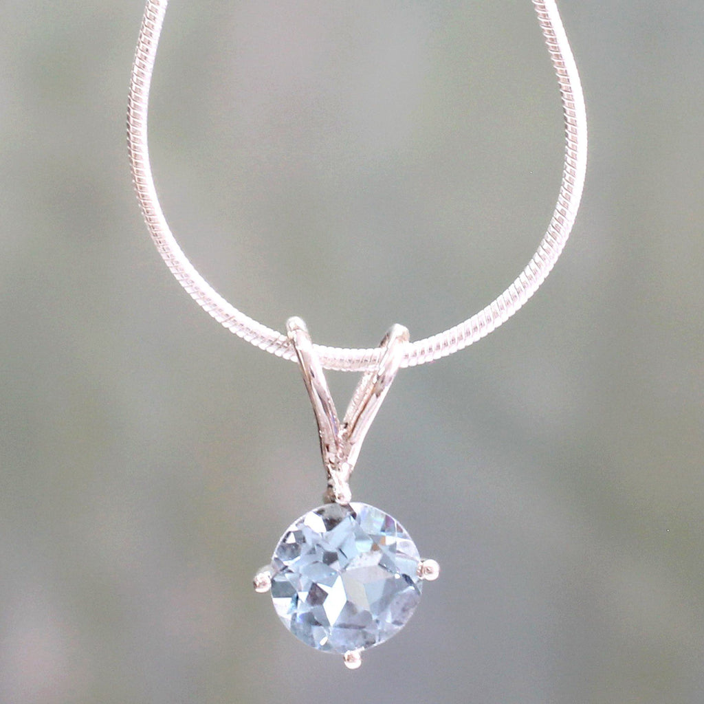 NOVICA - Blue Topaz Sterling Silver Pendant Necklace