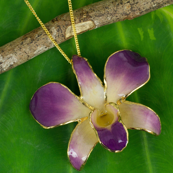 NOVICA - Pink And Purple Natural Orchid Flower Necklace