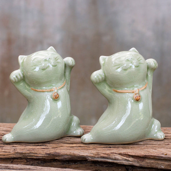NOVICA - Good Luck Ceramic Maneki Neko Statuettes