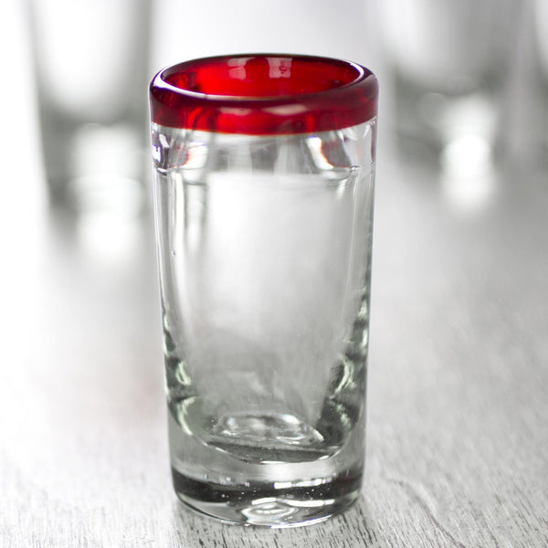 NOVICA - Hand Blown Red Clear Recycled Glass Shot Glasses, 2 Oz 'Ruby Shot' (set Of 6)