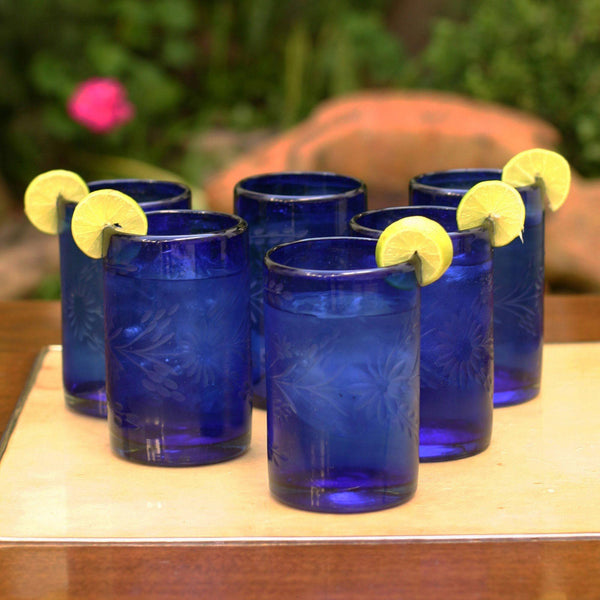 NOVICA - Hand Blown Recycled Glass Etched Blue Drinking Glasses, 14 Oz 'Blue Blossoms' (set Of 6)
