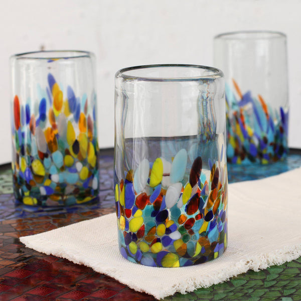 NOVICA - Artisan Crafted Recycled Hand Blown Glass Water Glasses, Multicolor, 14 Oz, 'Confetti' (set Of 6)