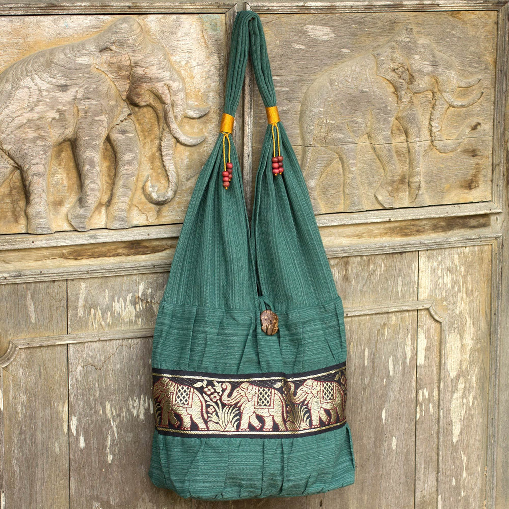 NOVICA - Emerald Thai Elephant Cotton Shoulder Bag