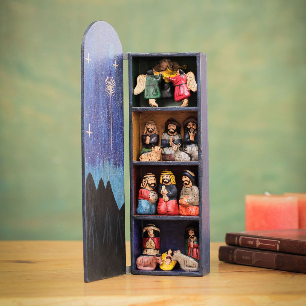 NOVICA - Handmade Wood Retablo Nativity