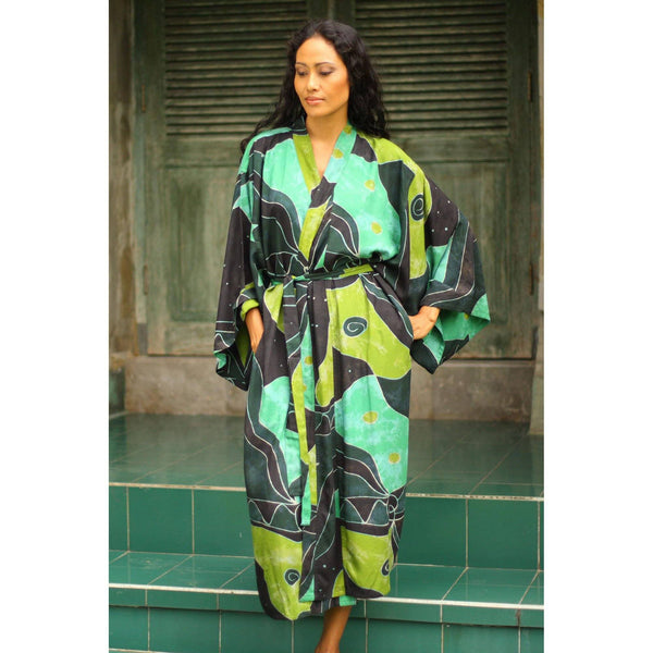 NOVICA - Green And Black Women's Batik Robe, 'Emerald Birds' (One Size Fits Most)