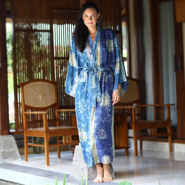 NOVICA - Handpainted Blue Batik Long Robe