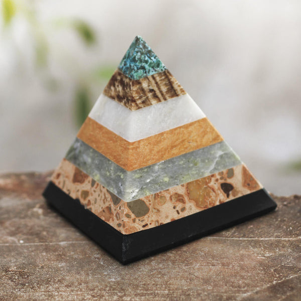 NOVICA - Hand Crafted Natural Gemstone Pyramid Sculpture