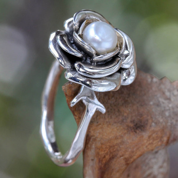 NOVICA - Handcrafted Pearl & Sterling Silver Rose Ring