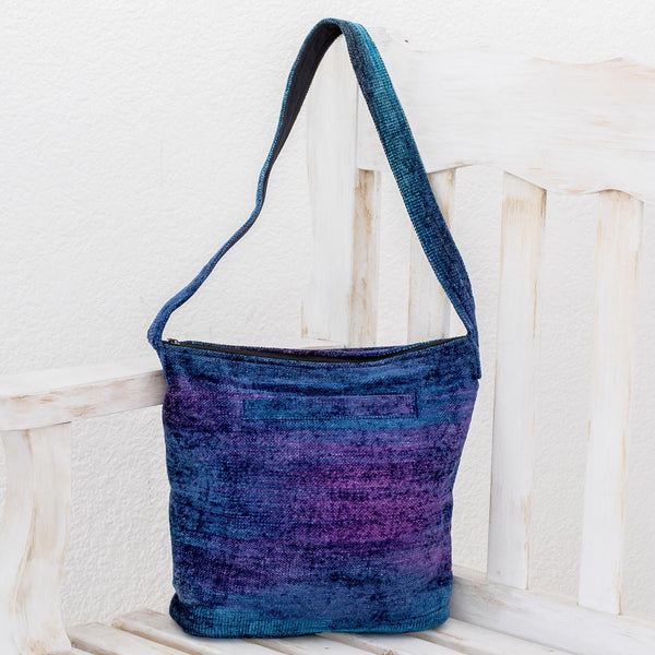 NOVICA - Blue Bamboo Chenille Shoulder Bag