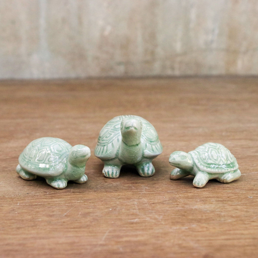 NOVICA - Celadon Ceramic Turtle Sculpture Set