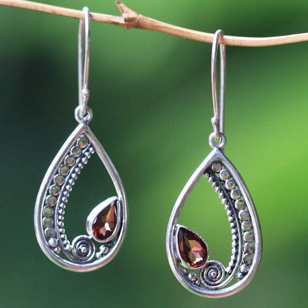 NOVICA - Garnet & Sterling Silver Dangle Earrings