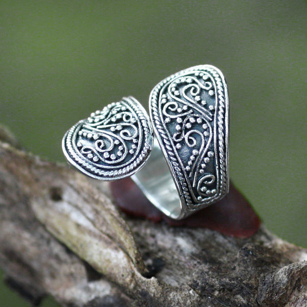 NOVICA - Floral Paisley Silver Wrap Ring