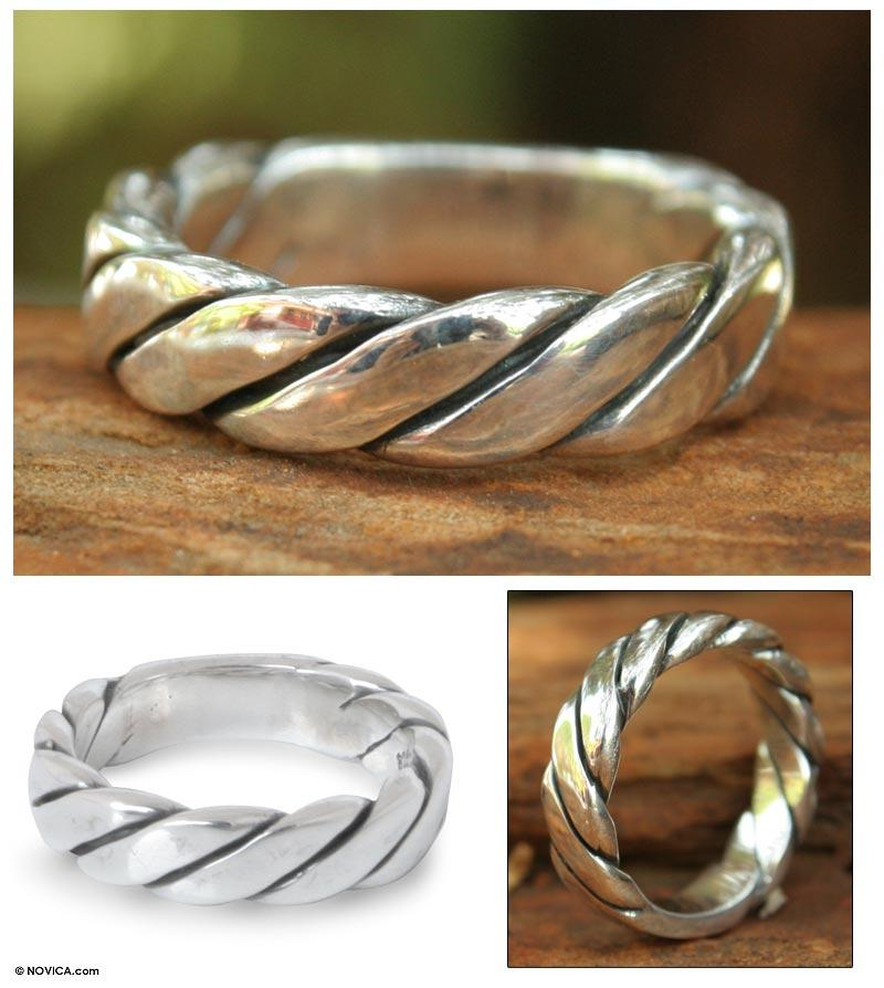 NOVICA - Men's Sterling Silver Lives Entwined Ring