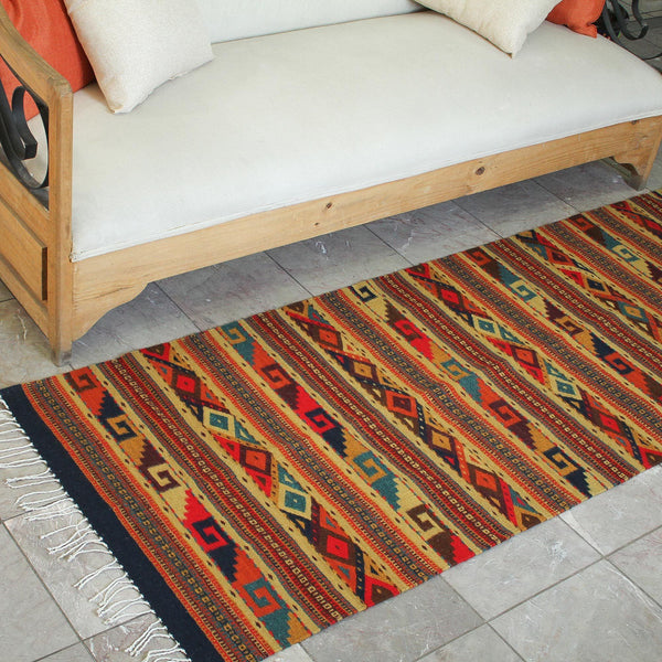 NOVICA - Earthtone Zapotec Wool Area Rug