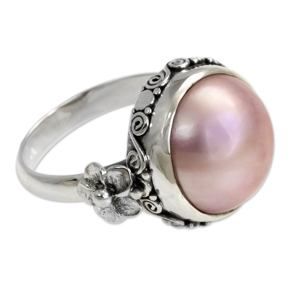 NOVICA - Handcrafted Pearl & Sterling Silver Flower Ring