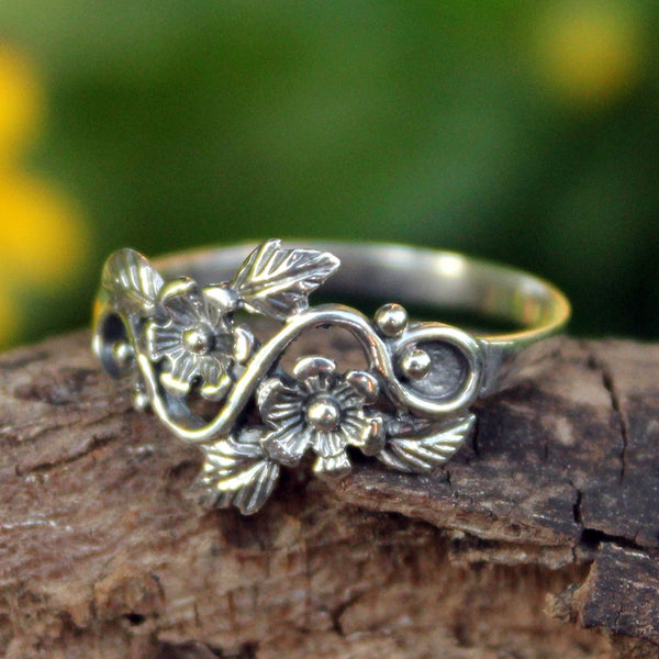 NOVICA - Sterling Silver Flower And Leaf Band Ring