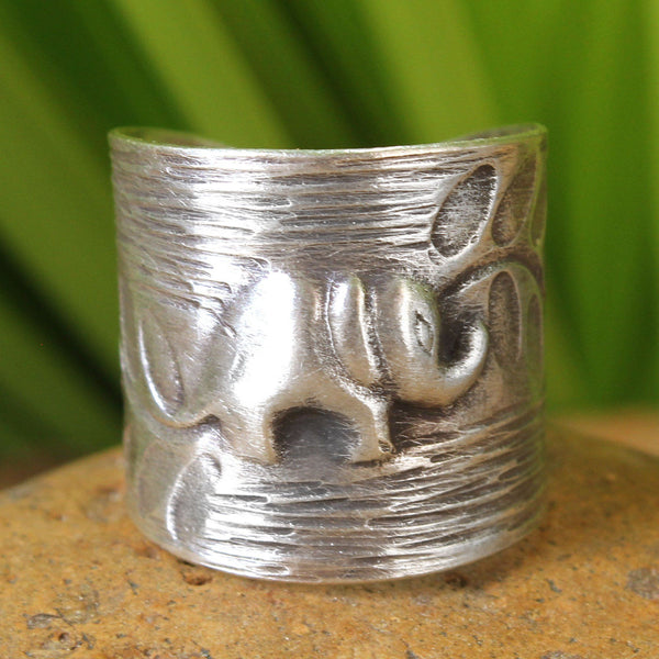 NOVICA - Silver Thai Forest Elephant Wrap Ring