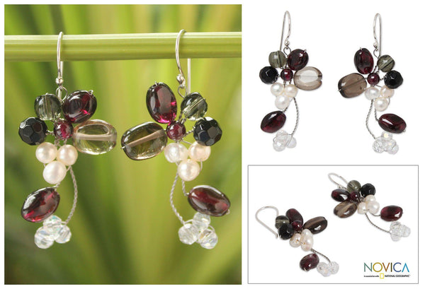 NOVICA - Pearl & Multi-gem Silver Cluster Earrings
