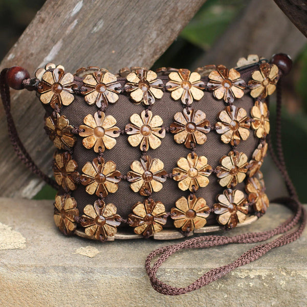 NOVICA - Petite Coconut Shell Shoulder Bag