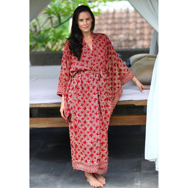 NOVICA - Ruby Red Hand Crafted Batik Robe