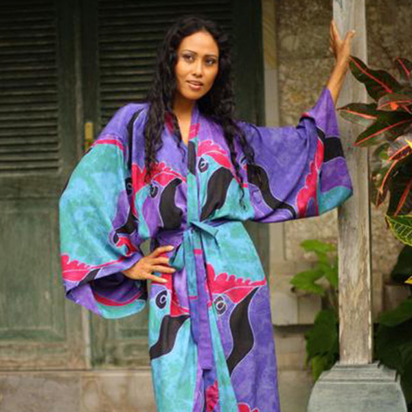 NOVICA - Handpainted Batik Long Robe