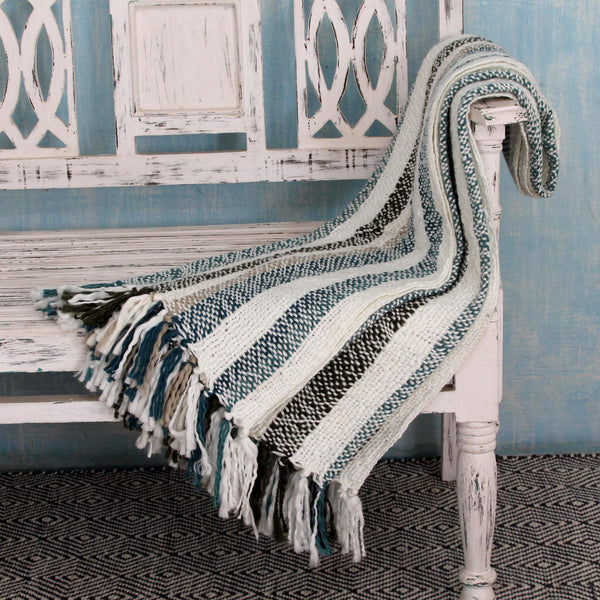 NOVICA - Handcrafted Teal & Beige Throw Blanket