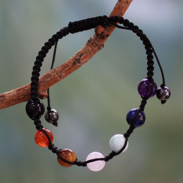 NOVICA - Gemstone Chakra Adjustable Beaded Bracelet