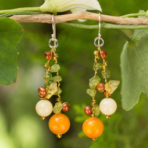 NOVICA - Silver Pearl & Multi-gem Earrings