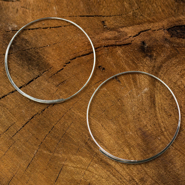 NOVICA - Minimalist Sterling Silver Hoop Earrings