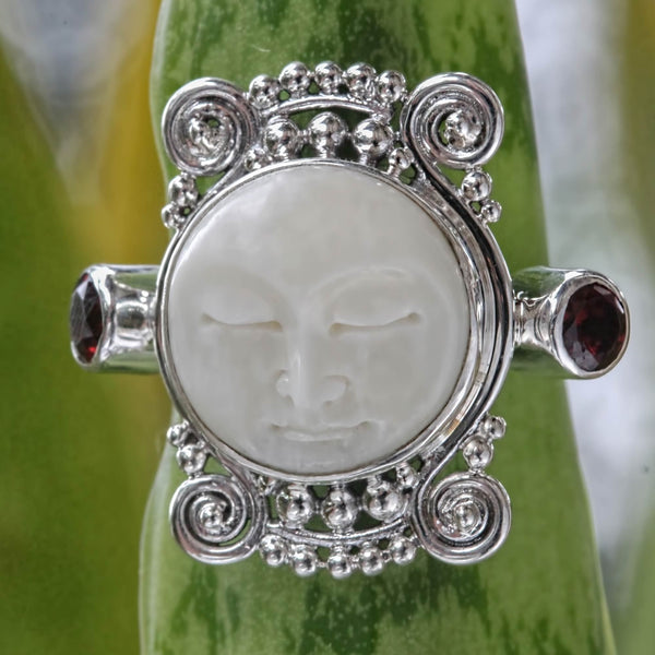 NOVICA - Moon's Dream Sterling Silver & Garnet Ring